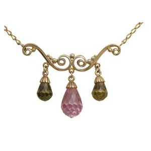 Multicolour Olive Cubic Zirconia CZ and Pink CZ Gold Necklace
