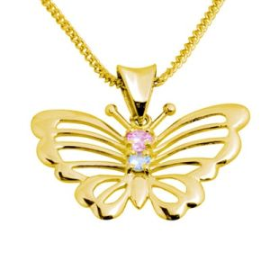 Multicolour Aquamarine and Pink Cubic Zirconia CZ Gold Pendant - Butterfly