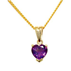 Image of Amethyst Gold Pendant - Heart (64665/AM)