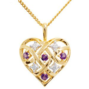Image of Amethyst and Diamond Gold Pendant - Heart Braid (64747/AM)