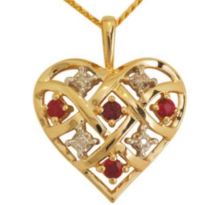 Image of Ruby and Diamond Gold Pendant - Heart Lattice (64747/CR)