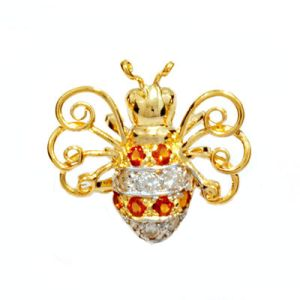 Image of Citrine and Diamond Gold Brooch - Bee (64853)