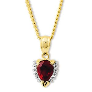 Image of Ruby and Diamond Gold Pendant - Pear Cluster (65257/CR)