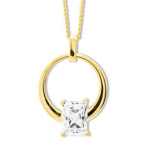 Image of Cubic Zirconia CZ Gold Pendant - Circle Slider (65263/CZ)