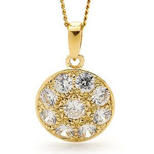 Image of Cubic Zirconia CZ Gold Pendant - Circle (65351/CZ)