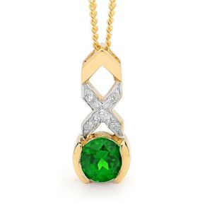Emerald and Diamond Gold Pendant - Kiss Hug