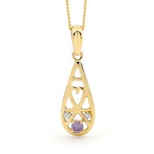 Image of Amethyst and Diamond Gold Pendant - Filigree (65428/AM)