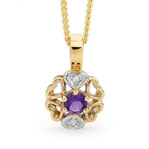 Image of Amethyst and Diamond Gold Pendant - Flower Filigree (65437/AM)