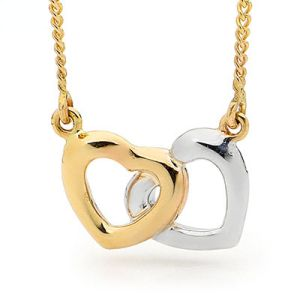 Image of Gold Necklace - Double Heart (65450)