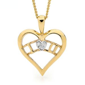 Image of Cubic Zirconia CZ Gold Pendant - Heart I Love You (65453/CZ)