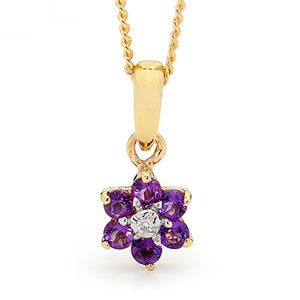 Image of Amethyst and Diamond Gold Pendant - Flower (65469/AM)