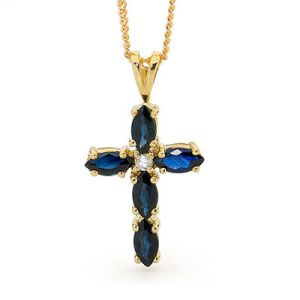 Image of Sapphire and Diamond Gold Pendant - Cross Blue (65470/S)