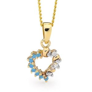 Blue Spinel and Diamond Gold Pendant - Heart