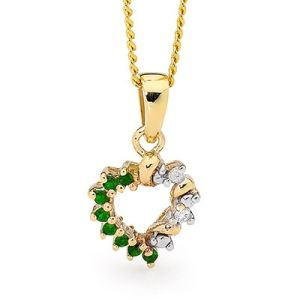 Emerald and Diamond Gold Pendant - Heart Drop