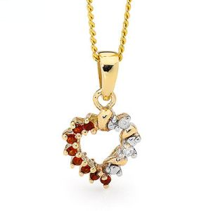 Image of Garnet and Diamond Gold Pendant - Heart (65478/GT)