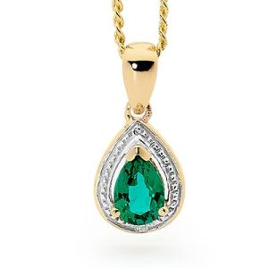 Image of Emerald and Diamond Gold Pendant - Teardrop (65552/G)