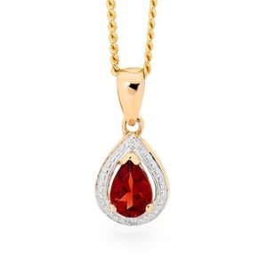 Image of Garnet and Diamond Gold Pendant - Teardrop Cluster (65552/GT)