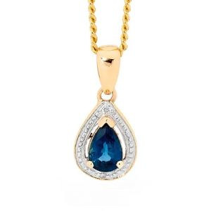 Image of Sapphire and Diamond Gold Pendant - Teardrop Cluster (65552/S)