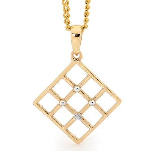 Image of Diamond Gold Pendant - Lattice (65572)