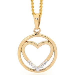 Image of Diamond Gold Pendant - Heart Eternal Love (65574)