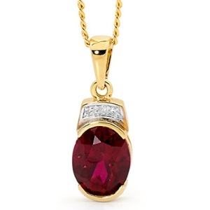 Image of Ruby and Diamond Pendant (65588/CR)