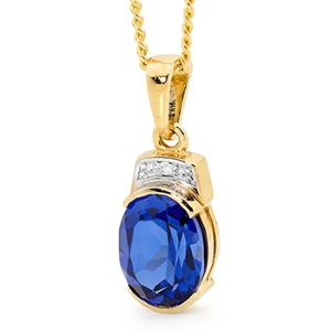 Image of Sapphire and Diamond Gold Pendant (65588/SS)