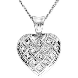 Image of Diamond Platinum Pendant - Heart Basket Weave (PT65029A13)