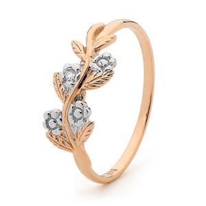 Image of Diamond Rose Gold Ring - Forget Me Not Flower (R24071)
