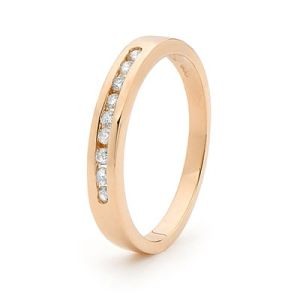 Image of Diamond Rose Gold Ring - Channel Set Band (R24518/B18)