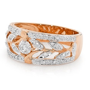 Image of Diamond Rose Gold Ring - Floral Band (R24669)