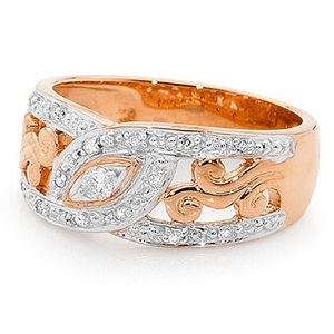 Image of Diamond Rose Gold Ring - Filigree Swirls (R24670)