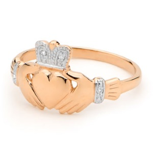 Image of Diamond Rose Gold Ring - Claddagh (R25116)