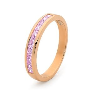 Image of Pink Cubic Zirconia CZ Rose Gold Ring - Eternity Band (R25514/CZP)