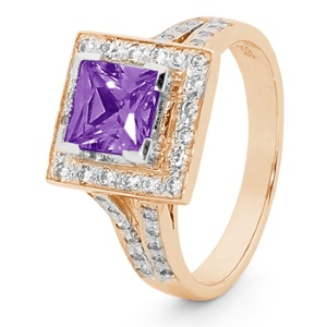Image of Amethyst and Cubic Zirconia CZ Rose Gold Ring (R25522/AM)