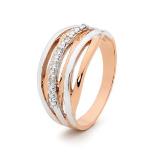 Image of Diamond Rose Gold Ring - Ribbons of Gold (R25541)
