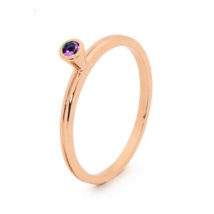 Image of Amethyst Rose Gold Ring - Stackable Bezel Set (R25546/AM)
