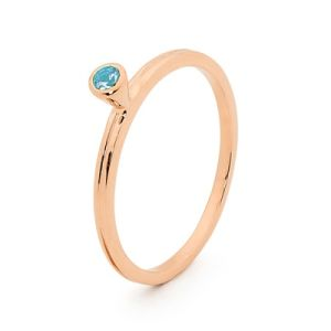Image of Blue Topaz Rose Gold Ring - Stackable Bezel Set (R25546/BT)