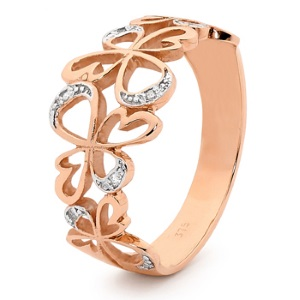 Image of Diamond Rose Gold Ring - Angels (R25592)
