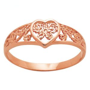 Image of Rose Gold Ring - Heart Filigree (R41508)