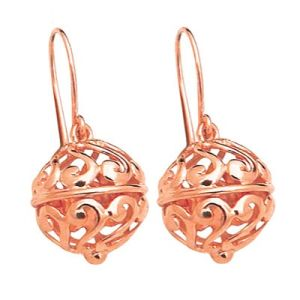 Rose Gold Earrings - Filigree Ball