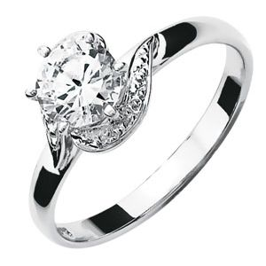 Image of Cubic Zirconia CZ White Gold Ring - Solitaire (W22031/CZ)