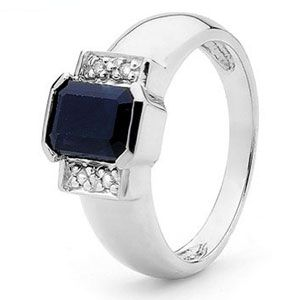 Image of Black Sapphire and Diamond White Gold Ring (W23158/SLG)