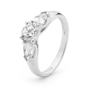 Image of Cubic Zirconia CZ White Gold Ring - Trilogy (W23205/CZ)