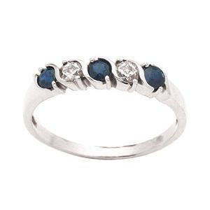 Image of Sapphire and Diamond White Gold Ring (W23807/S)