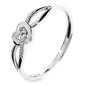 Image of Diamond White Gold Ring - Heart Ribbon (W24063)