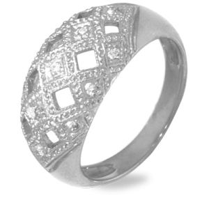 Image of Diamond White Gold Ring - Basket Weave (W24751)