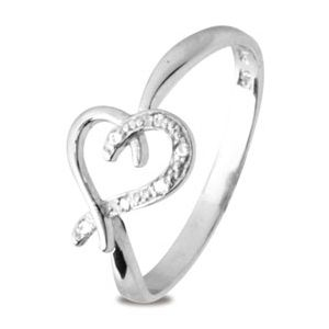 Image of Diamond White Gold Ring - Heart Crossover (W25247)