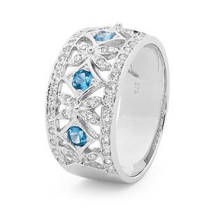 Image of Blue Spinel and Cubic Zirconia CZ White Gold Ring (W25316/CZAQ)