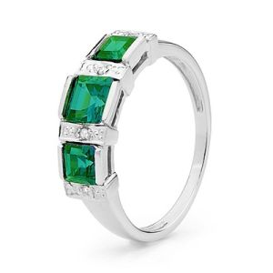 Image of Emerald and Diamond White Gold Ring - Trilogy (W25371/G)