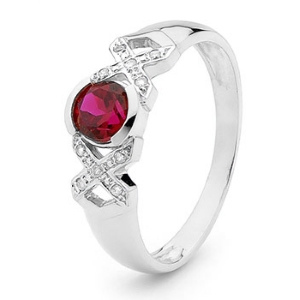 Image of Ruby and Diamond White Gold Ring - XOX (W25376/CR)